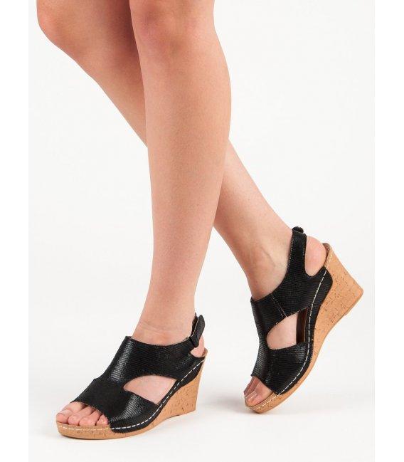 Čierne sandále na kline