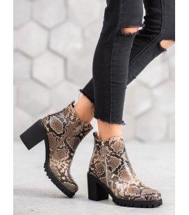 Členkové topánky na platforme s hadím vzorom
