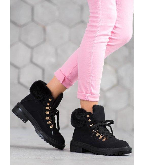 Textilné členkové topánky s kožúškom
