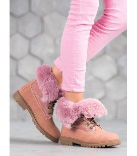 Ružové traperky so záhybom