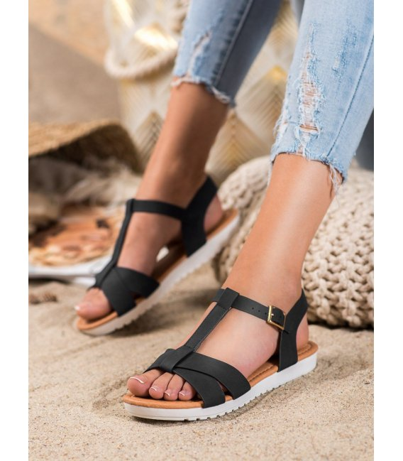 Čierne textilné sandálky