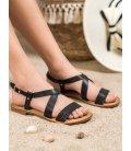 Čierne sandále z eko kože