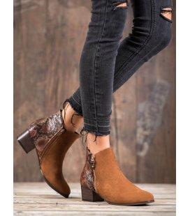 Hnedé topánky s hadím vzorom