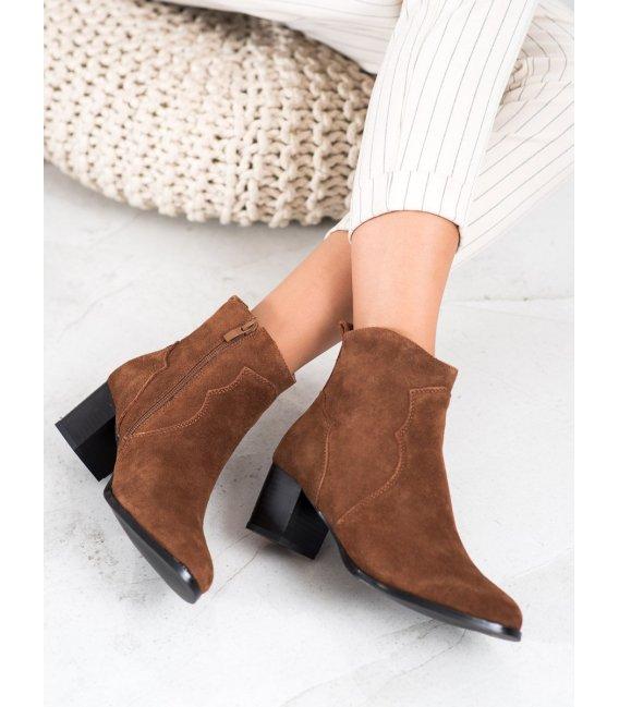 Kožené členkové topánky na podpätku