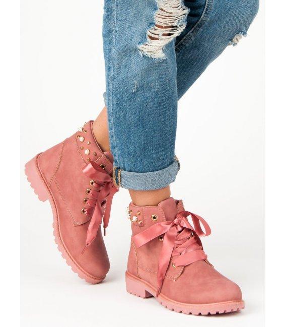 Ružové traperky Casual DTR604/18P