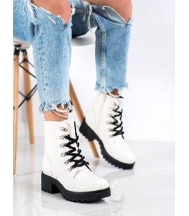 Biele lakované členkové topánky