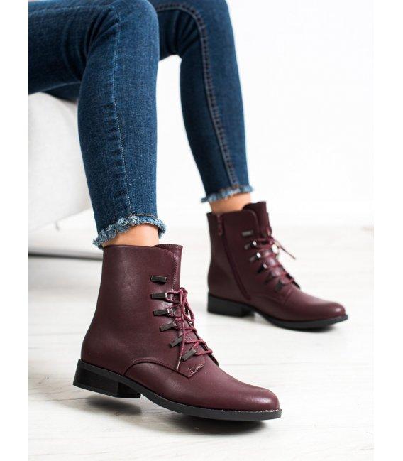 Klasické bordové členkové topánky
