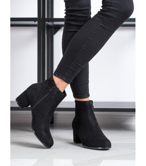 Semišové čierne členkové topánky