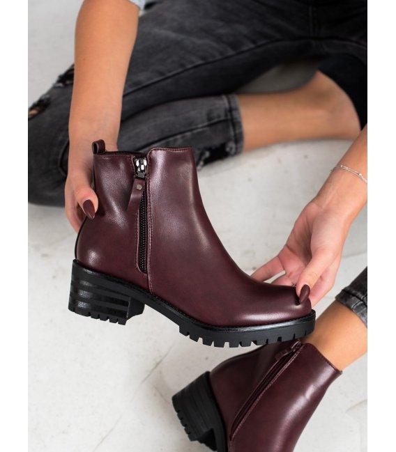 Pohodlné bordové členkové topánky