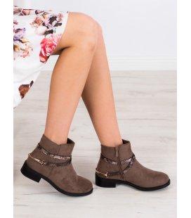 Módne hnedé členkové topánky