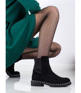Semišové topánky s perličkami