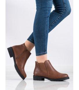 Hnedé členkové topánky na zips