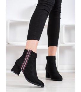Semišové členkové topánky s ozdobným zipsom