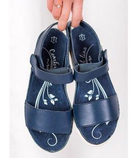Tmavo modré kožené sandále