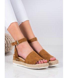 Hnedé sandále na kline