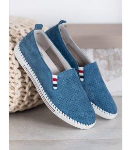 Tmavomodré modré kožené tenisky