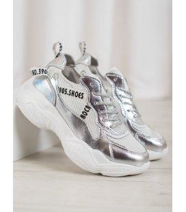 Strieborné kožené sneakersy
