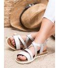 Biele sandále z eko kože