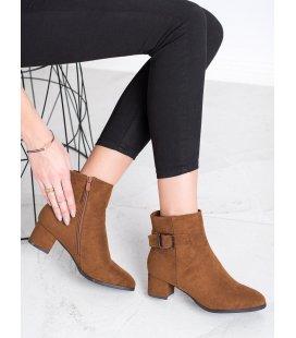 Hnedé členkové topánky s prackou