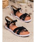 Čierne sandálky z eko kože