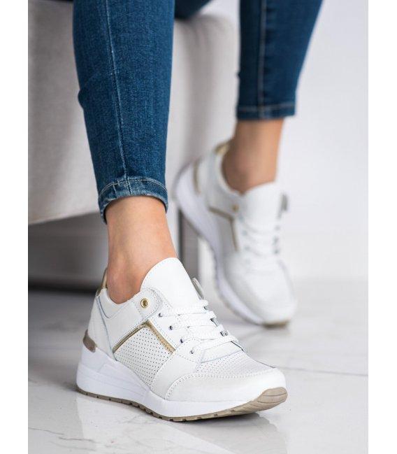 Biele športové topánky z kože