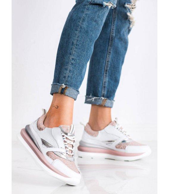Bielo-ružové sneakersy z kože