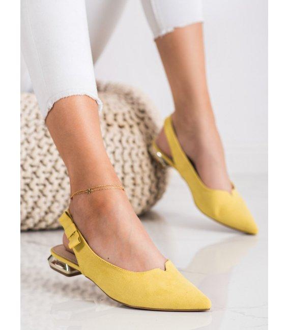 Žlté lodičky s holou pätou