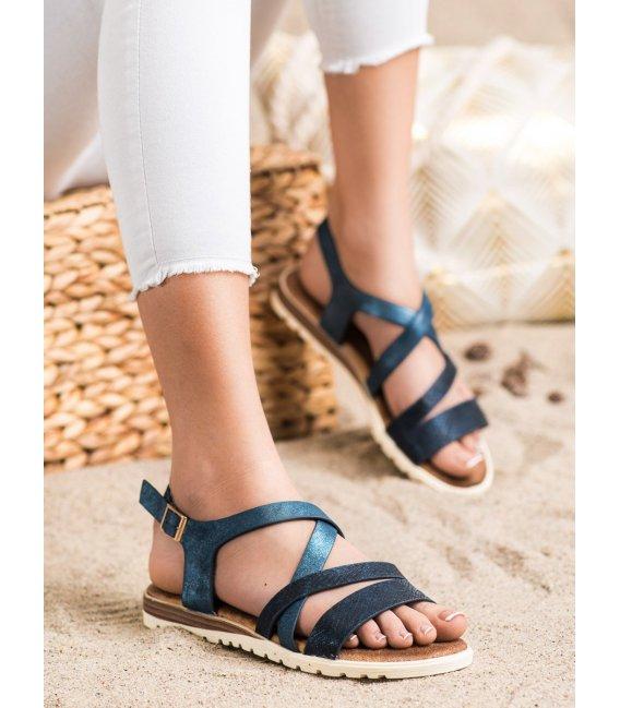 Modre sandálky z eko kože