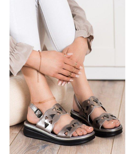 Strieborné sandálky na platforme Sergio Leone
