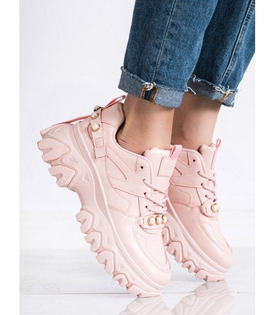 Ružové sneakersy s perličkami