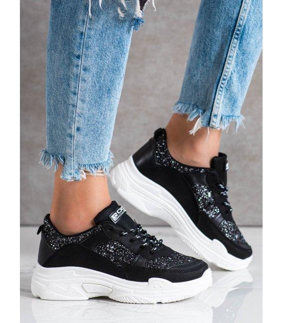 Čierne sneakersy s brokátom