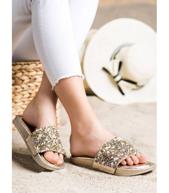 Zlaté šľapky s kryštálmi