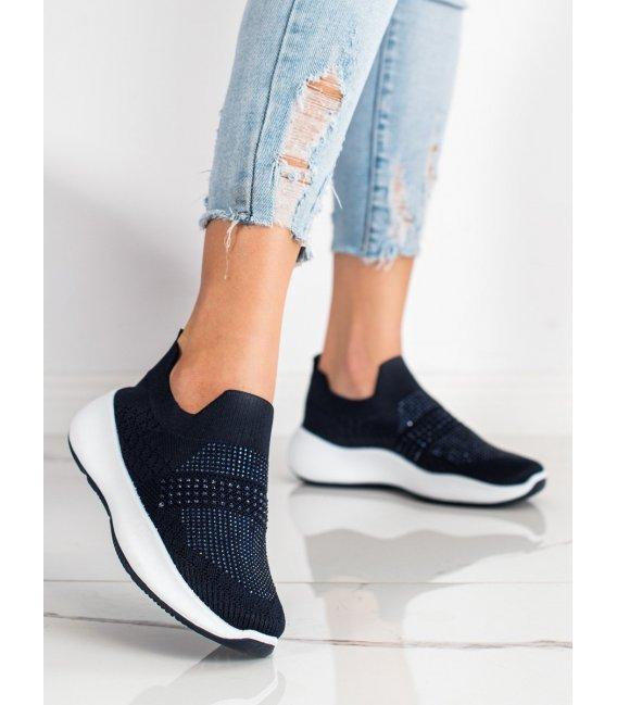 Tmavomodré sneakersy s kryštálmi