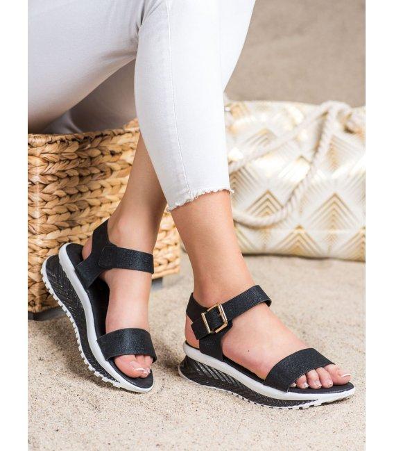Sandálky na platforme s brokátom
