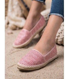 Ružové pletené espadrilky