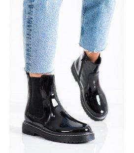 Lakované členkové topánky s kožušinkou
