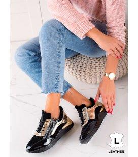 Čierno-zlaté kožené sneakersy