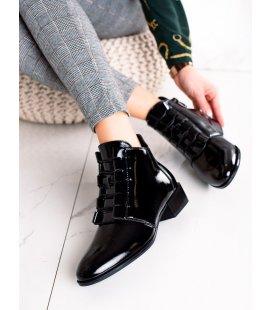 Elegantné lakované členkové topánky